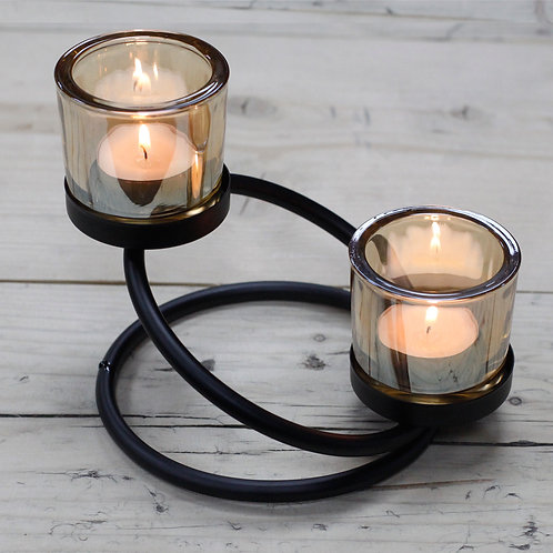 Black Iron Tea Light Candle Holder - 2 Cup Double Step