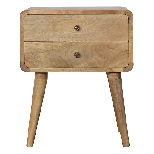 Nordic Style Solid Wood Curved Bedside Cabinet
