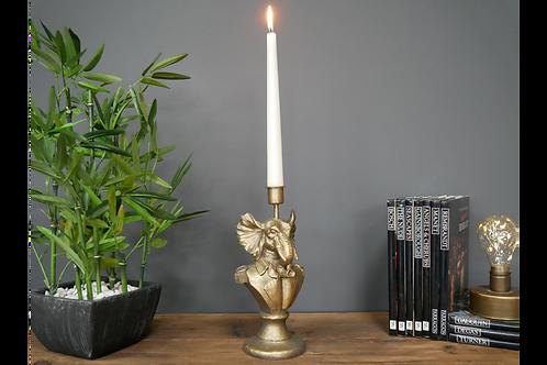Antique Gold Elephant Candle Holder Animal Bust Candlestick