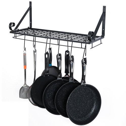 Black Wall Mounted Pan Rack