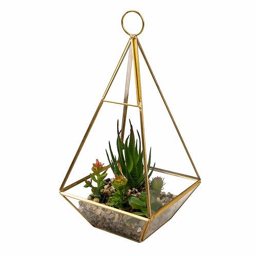 Copper Glass Terrarium with Artificial Succulents & Stones