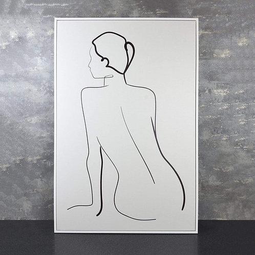 Framed Lady Line Canvas Black & White 90 x 60cm Line Drawing