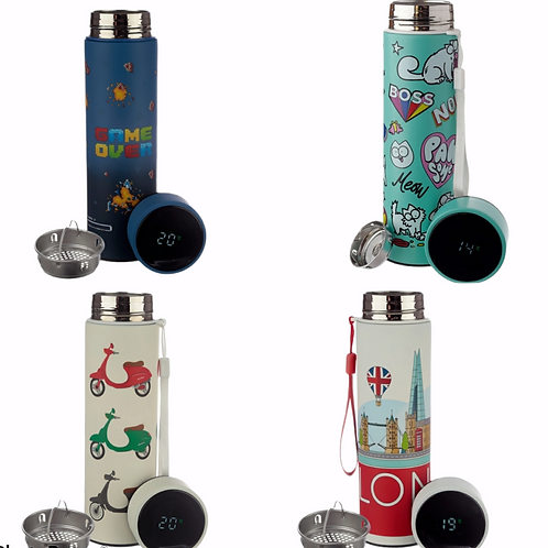Stainless Steel Insulated Drinks Bottle with Digital Thermometer