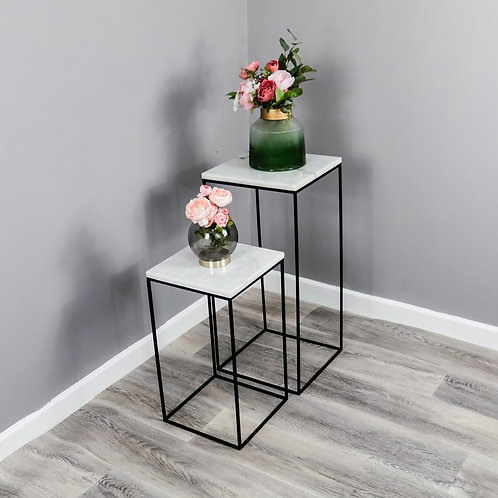 Set of 2 Marble Side Tables