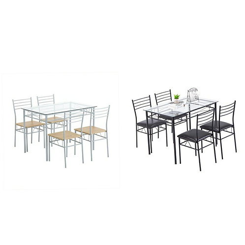 Iron Glass Dining Table & 4 Chairs