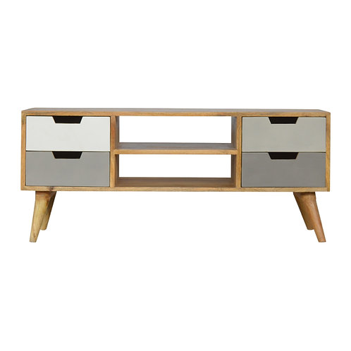 Grey Solid Wood Media Unit with 4 Drawers