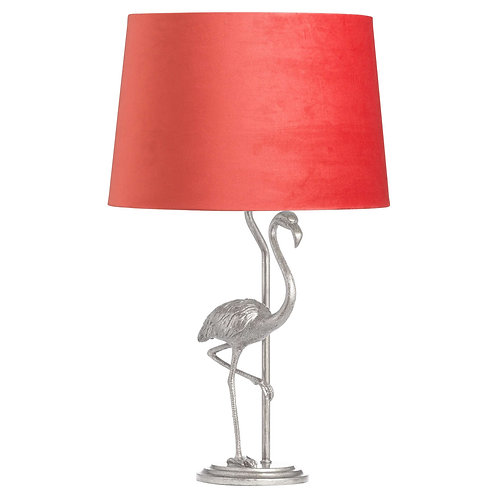Silver Flamingo Table Lamp with Velvet Shade