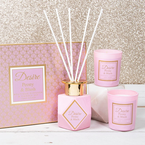Desire Reed Diffuser & Candle Gift Set - Peony & Blush