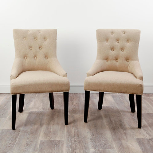 Pair of Beige Button Back Dining Chairs