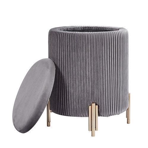 Grey Velvet Storage Stool