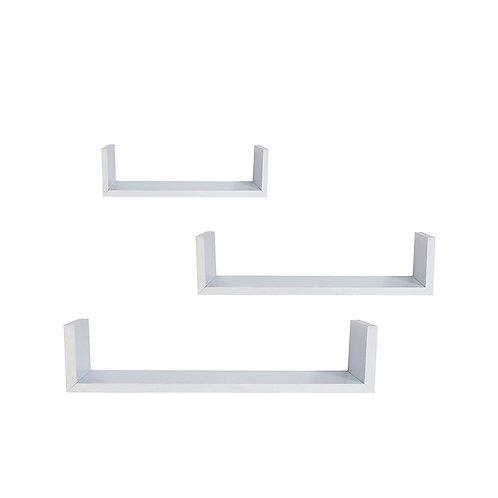 Set of 3 White Floating Shelves