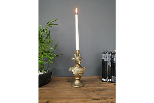 Antique Gold Giraffe Candle Holder Animal Bust Candlestick