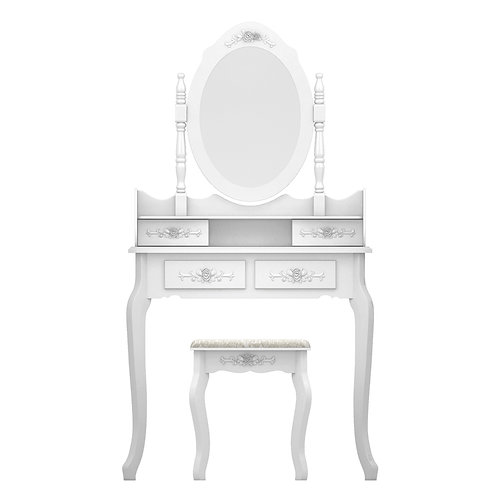 White Dressing Table, Stool & Oval Mirror