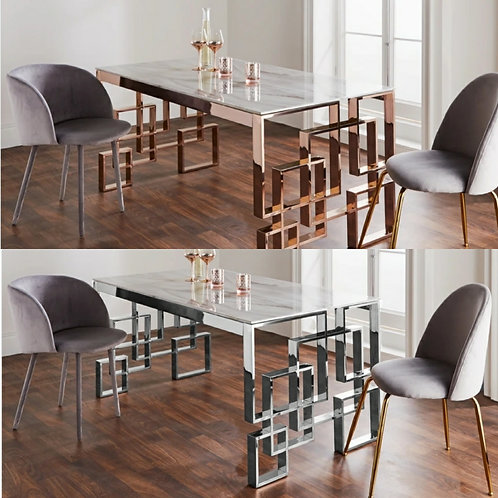 Marble Glass Dining Table Silver or Rose Gold