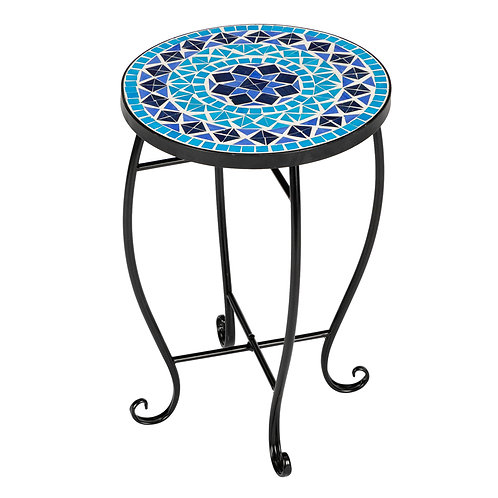 Round Mosaic Bistro Table - Blue Diamond