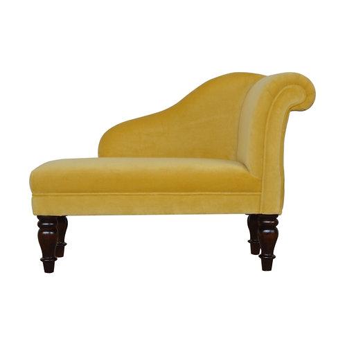 Mustard Velvet Chaise Lounge