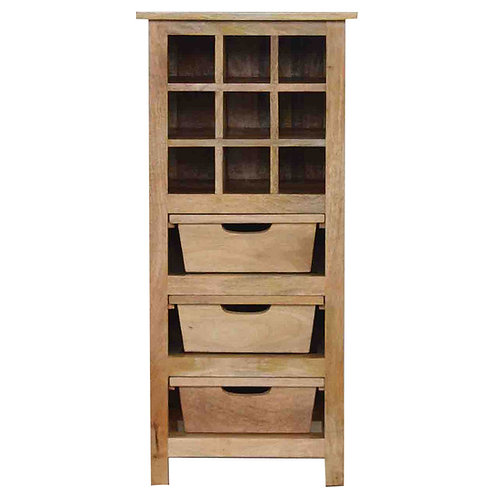 Solid Wood Drinks Cabinet with 3 Drawers