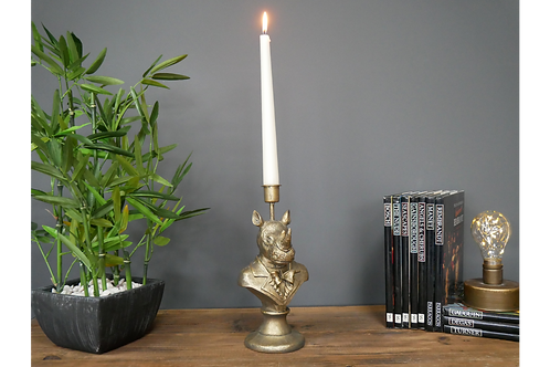 Antique Gold Rhino Candle Holder Animal Bust Candlestick