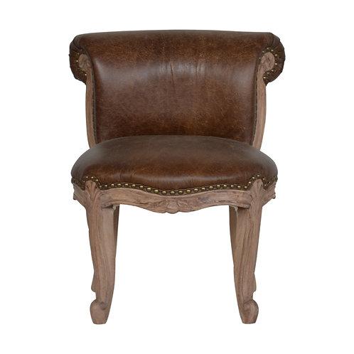 Brown Buffalo Leather Studded Chair