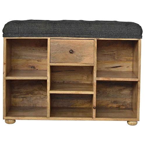 Solid Wood 6 Slot Shoe Storage Bench