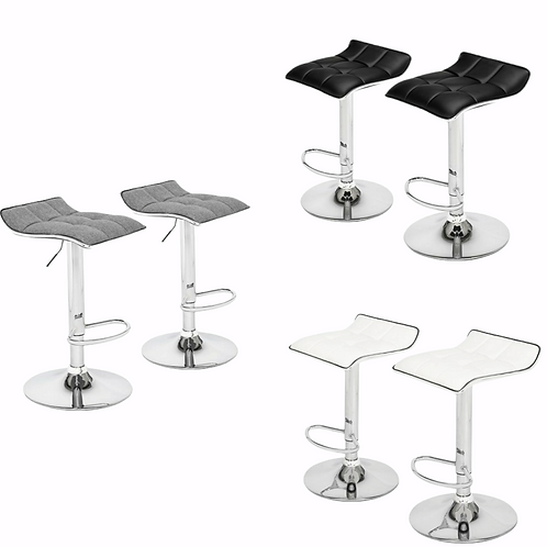 Pair of Gas Lift Curved Back Bar Stools