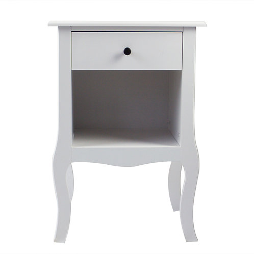 White One Drawer Bedside Cabinet