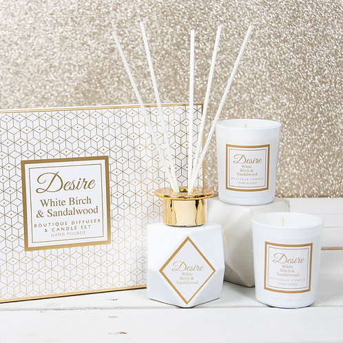Desire Reed Diffuser & Candle Gift Set - White Birch & Sandalwood