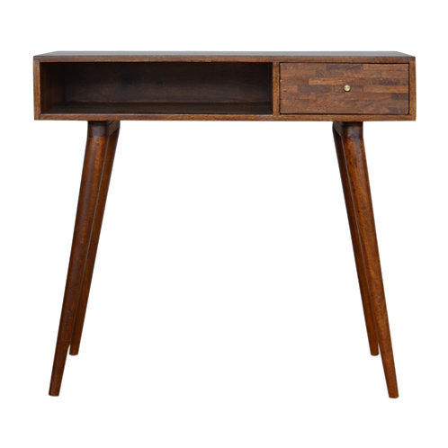 Solid Wood Mixed Chestnut Writing Desk with 1 Drawer