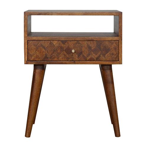 Solid Wood Mixed Chestnut 1 Drawer Bedside Cabinet