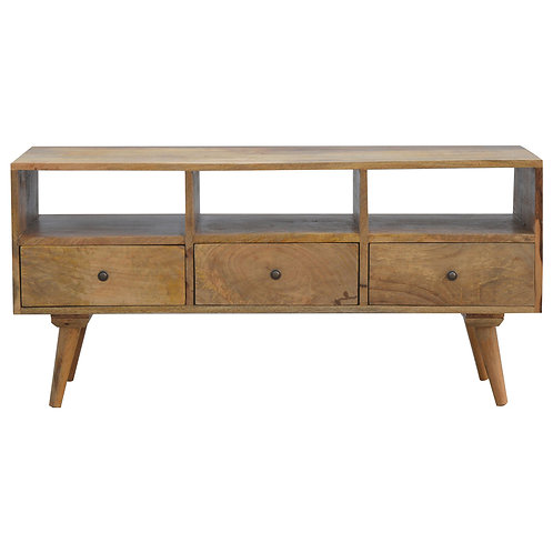 Scandinavian Style Solid Wood TV Unit with 3 Drawers