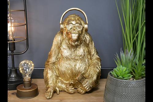 Gold Gorilla Ape with Sunglasses & Headphones Ornament