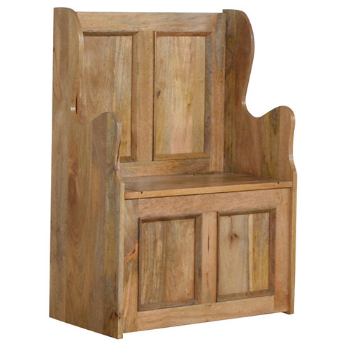 Solid Wood Small Monks Bench Storage Seat