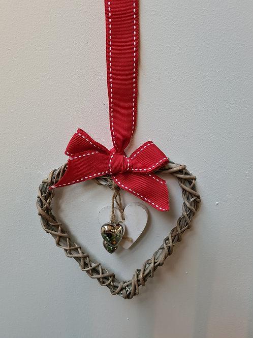 Hanging Wicker Woven Hearts