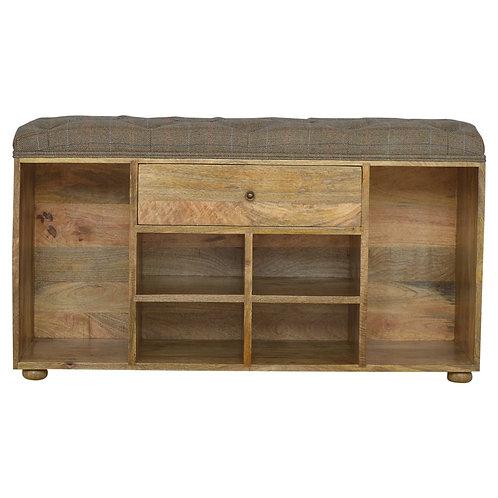 Solid Wood & Tweed Shoe Storage Bench