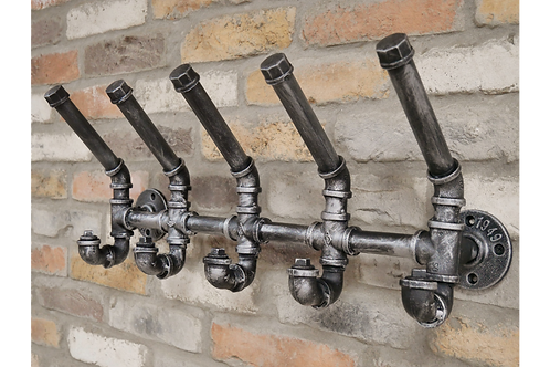 Industrial Steampunk Pipe Coat Hook Wall Mounted 5 Hooks