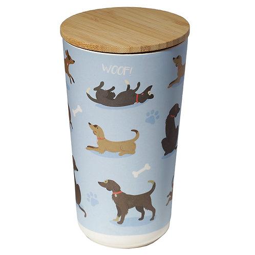 Large Bamboo Storage Jar - Catch Patch Dog