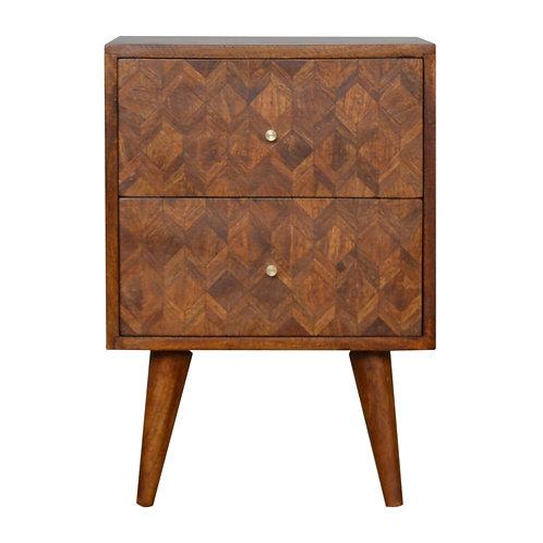 Solid Wood Mixed Chestnut 2 Drawer Bedside Cabinet