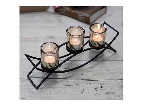 Black Iron Tea Light Candle Holder - 3 Cup Wave