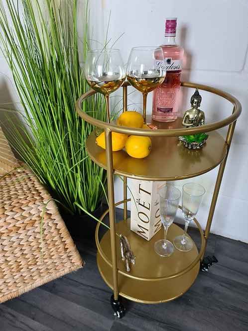 Small Round Gold Drinks Trolley with Shelves