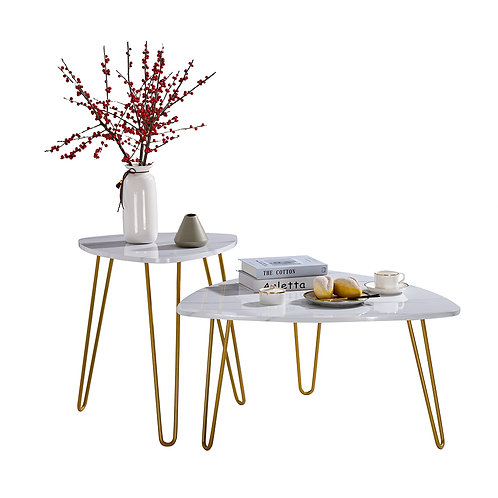 Set of 2 Marble Effect Tables