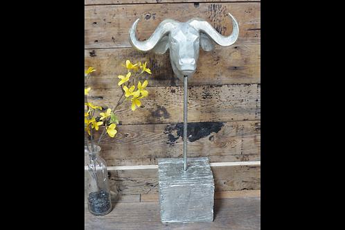 Buffalo Head Statue On Silver Base