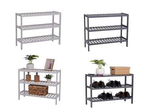 Bamboo Shoe Storage Bench Grey or White