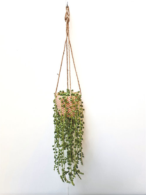 String of Pearls Artificial Potted Hanging Plant