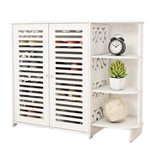 White 2 Door Shoe Cabinet with Shelving