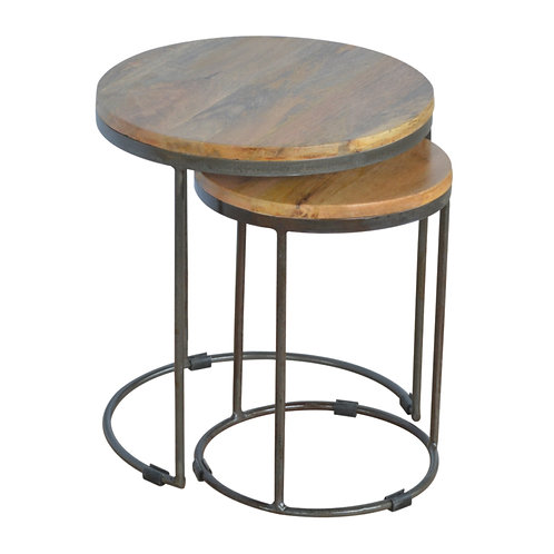 Round Nest of Tables with Iron Base - Solid Wood