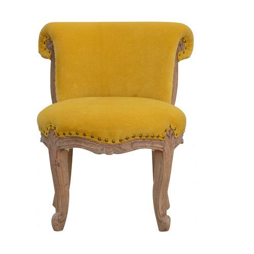 Mustard Velvet Studded Chair