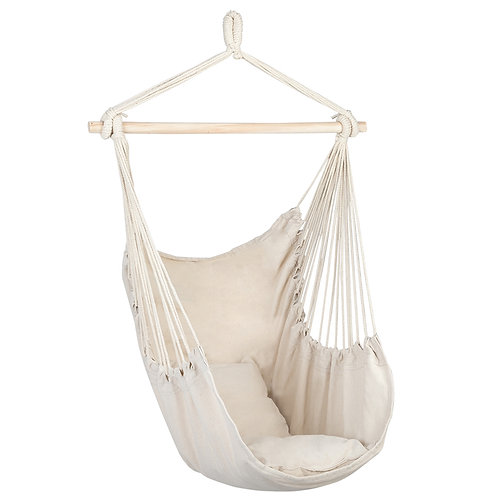 Beige Cotton Canvas Hanging Rope Chair