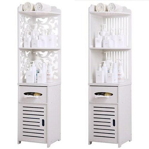 White Bathroom Corner Shelf Unit