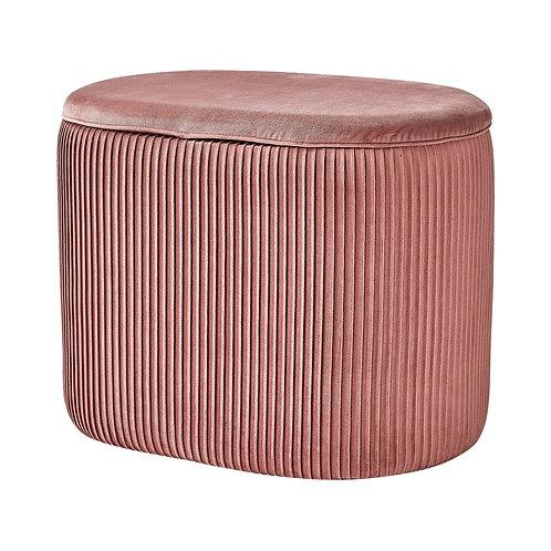 Pink Velvet Oval Storage Footstool