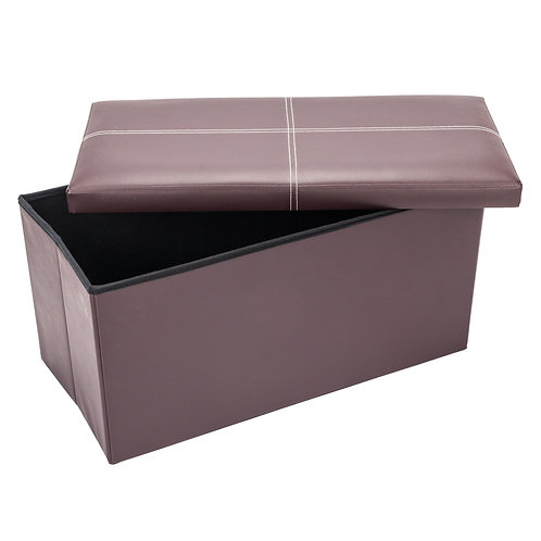 Brown Faux Leather Folding Ottoman / Foot Stool